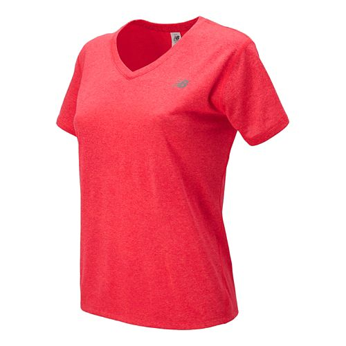Womens New Balance Heathered V-Neck Short Sleeve Technical Top - Bright Cherry XS