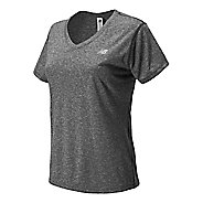 Womens New Balance Heathered V-Neck Short Sleeve Technical Top