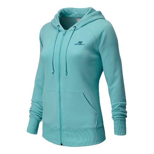 Womens New Balance Essentials Full Zip Warm Up Hooded Jackets - Seaspray L