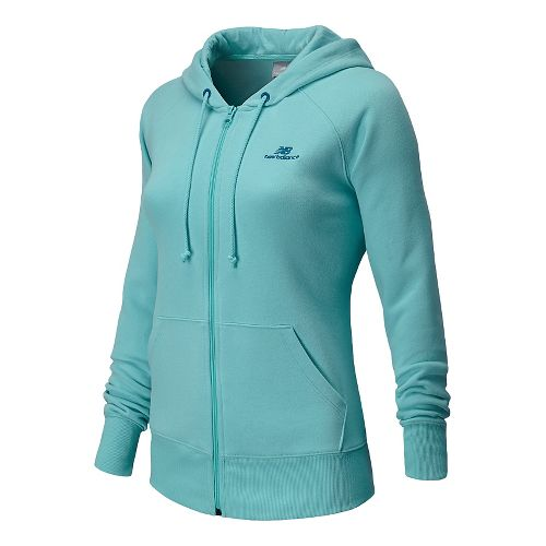 Womens New Balance Essentials Full Zip Warm Up Hooded Jackets - Seaspray M