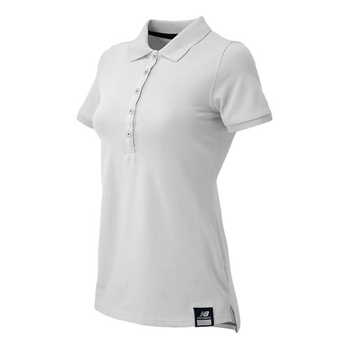 Womens New Balance Essential Polo Short Sleeve Non-Technical Tops - White XXL
