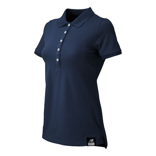 Womens New Balance Essential Polo Short Sleeve Non-Technical Tops - Dark Sapphire S