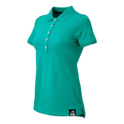 Womens New Balance Essential Polo Short Sleeve Non-Technical Tops - Aquarius M