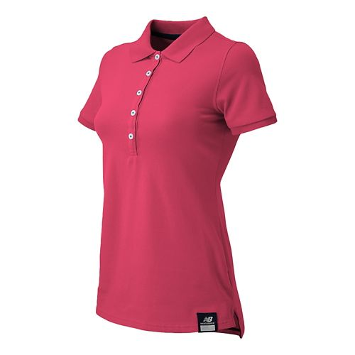 Womens New Balance Essential Polo Short Sleeve Non-Technical Tops - Blush L