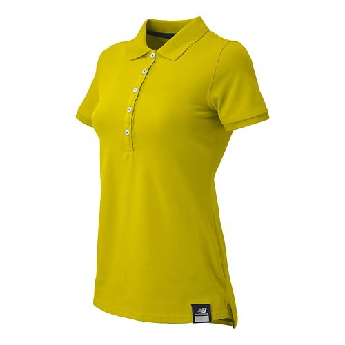 Womens New Balance Essential Polo Short Sleeve Non-Technical Tops - Lemon Drop M