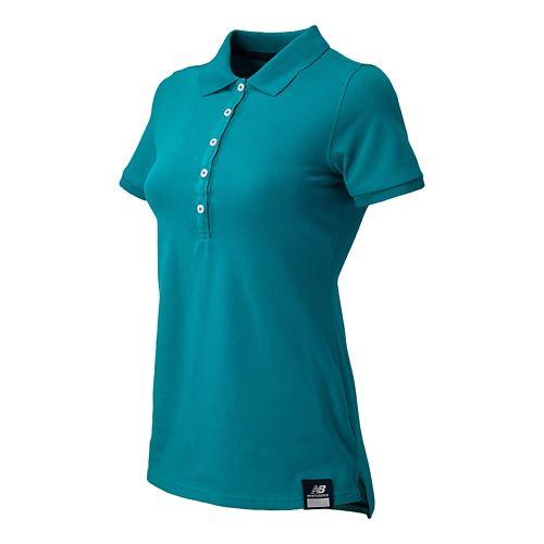 Womens New Balance Essential Polo Short Sleeve Non-Technical Tops - Aquamarine S