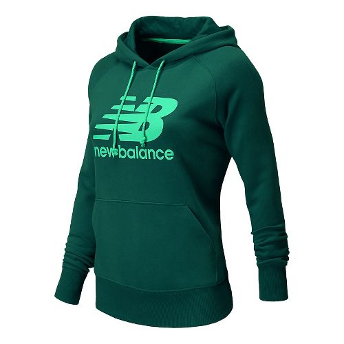 Womens New Balance Essentials Pullover Warm Up Hooded Jackets - Tropical Green XS