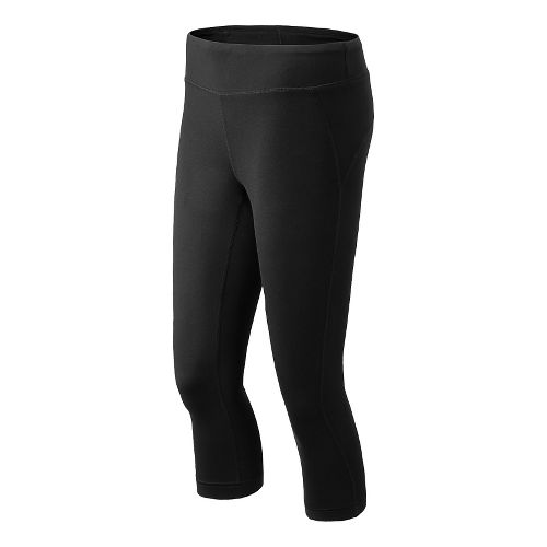 Womens New Balance Spree Capri Tights - Black Heather XS