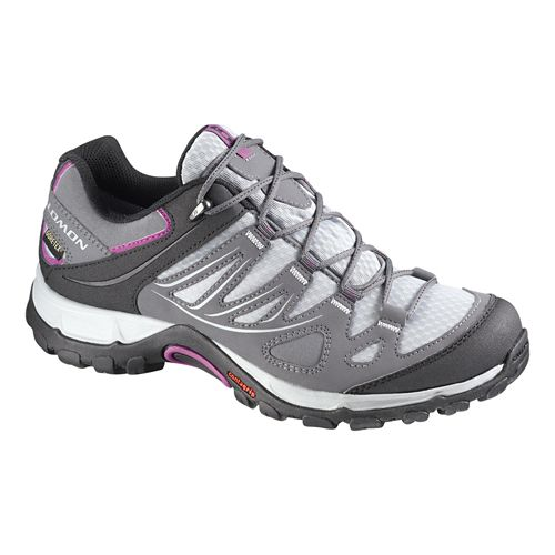 Womens Salomon Ellipse GTX Hiking Shoe - Grey/Azalea Pink 5