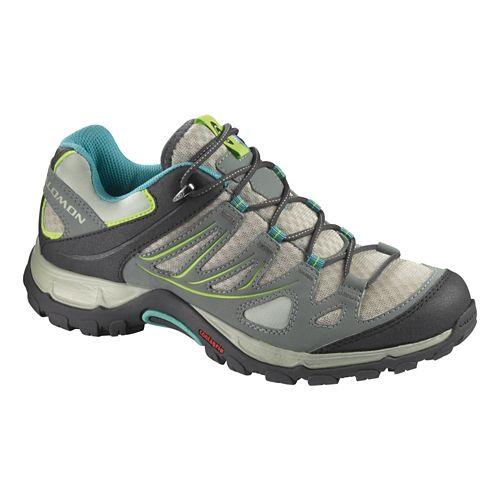 Womens Salomon Ellipse Aero Hiking Shoe - Chalk Grey/Blue 5.5