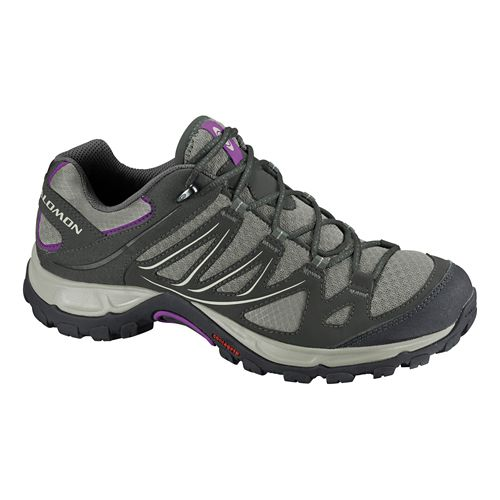Womens Salomon Ellipse Aero Hiking Shoe - Chalk Grey/Blue 9.5