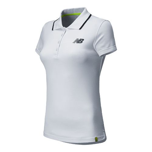 Womens New Balance Challenger Polo Short Sleeve Technical Top - White XXL