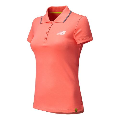 Womens New Balance Challenger Polo Short Sleeve Technical Top - Fiji M