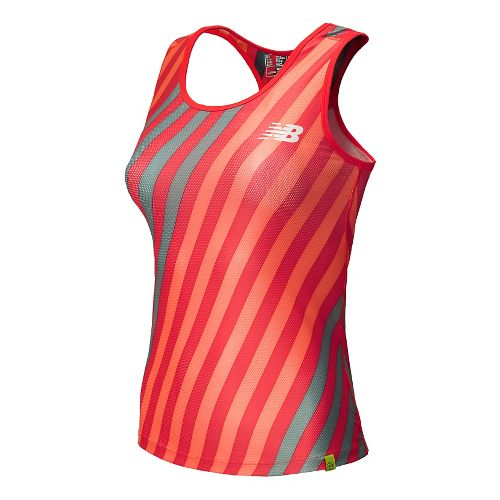 Womens New Balance Challenger Printed Tank Technical Top - Bright Cherry XS