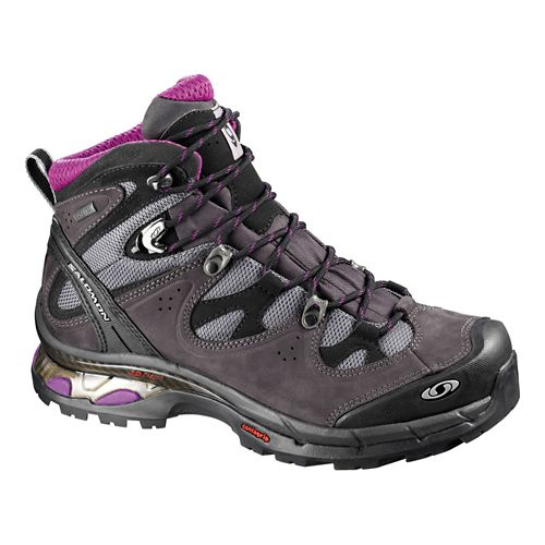 Womens Salomon Comet Lady 3D GTX Hiking Shoe - Asphalt/Purple 8.5