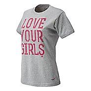Womens New Balance Lace Up Love Girls Tee Short Sleeve Technical Top