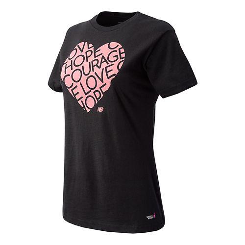 Womens New Balance Lace Up Heart Tee Short Sleeve Technical Top - Black XL