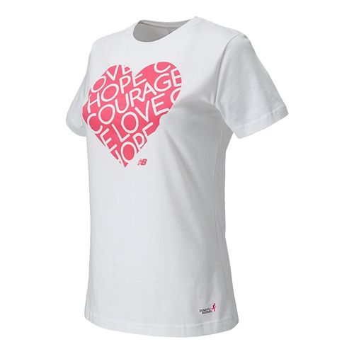 Womens New Balance Lace Up Heart Tee Short Sleeve Technical Top - White M