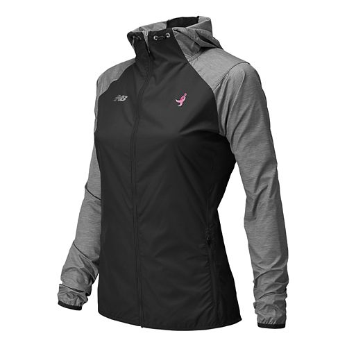 Womens New Balance Lace Up Surface Run Warm Up Hooded Jackets - Black/Grey L