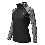 Womens New Balance Lace Up Surface Run Warm Up Hooded Jackets