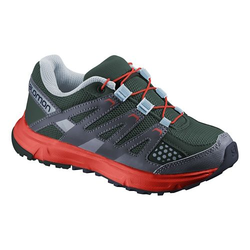 Kids Salomon XR Mission Trail Running Shoe - Green/Orange 1.5