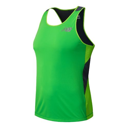 Mens New Balance Excel Race Day Singlet Tank Technical Top - Acidic Green XL