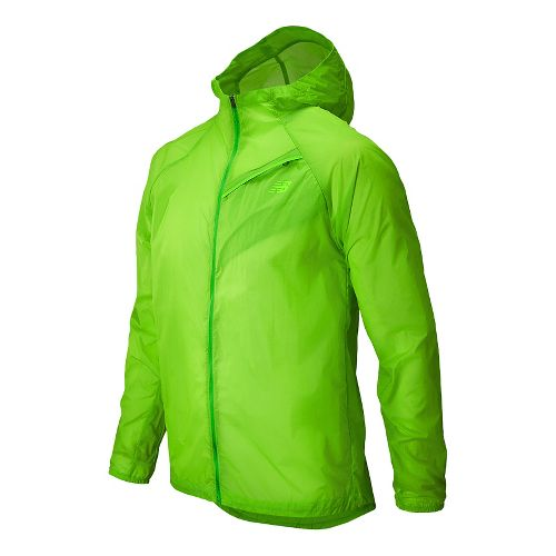 Mens New Balance Ultra Warm Up Hooded Jackets - Chemical Green L