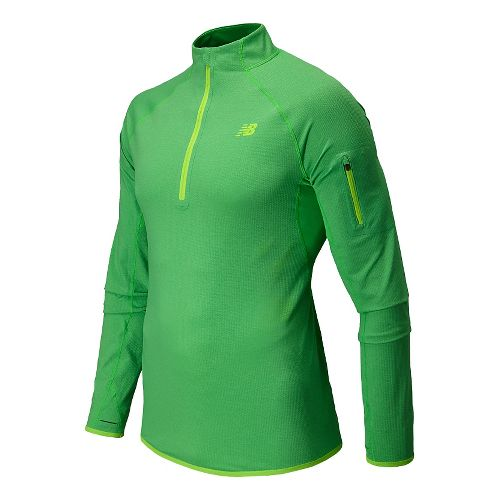 Mens New Balance Ultra Long Sleeve Half Zip Technical Top - Acidic Green Heather XL ...