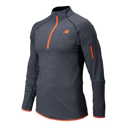 Mens New Balance Ultra Long Sleeve Half Zip Technical Top - Dark Sapphire Heather S ...