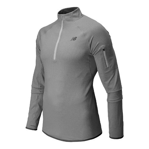 Mens New Balance Ultra Long Sleeve Half Zip Technical Top - Acidic Green Heather S ...