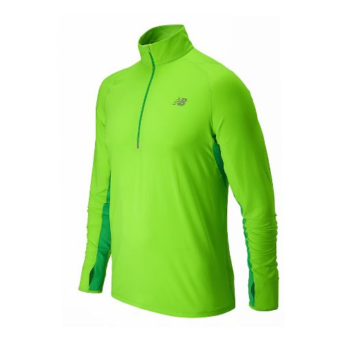 Mens New Balance Impact Long Sleeve Half Zip Technical Top - Chemical Green S