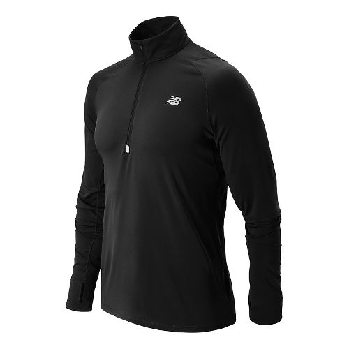 Mens New Balance Impact Long Sleeve Half Zip Technical Top - Black M