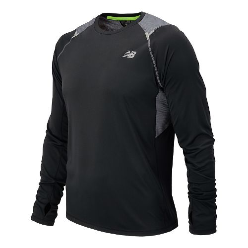 Mens New Balance Ice Long Sleeve No Zip Technical Top - Acidic Green M