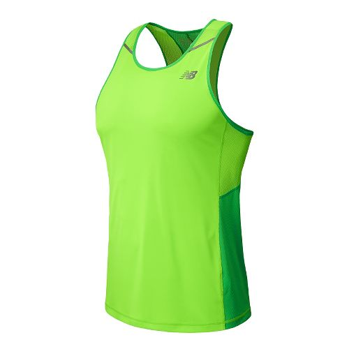 Mens New Balance Ice Singlet Tank Technical Top - Acidic Green M