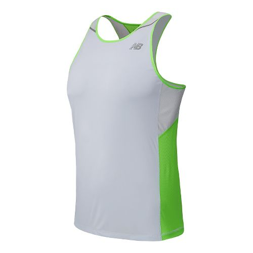 Mens New Balance Ice Singlet Tank Technical Top - Chemical Green L