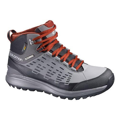 Mens Salomon Kaipo CS WP Hiking Shoe - Grey/Red 8.5