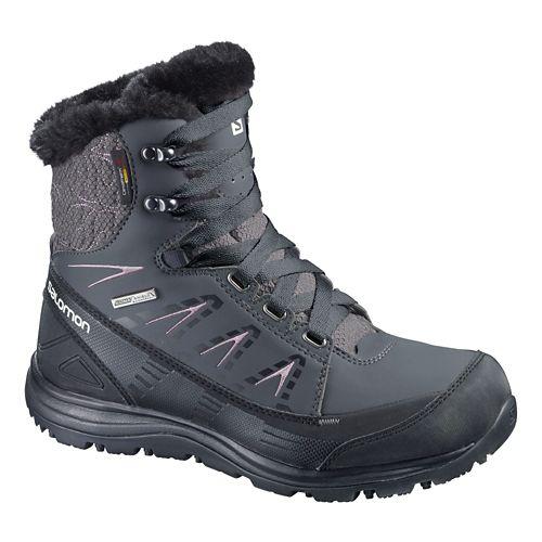 Womens Salomon Kaina Mid CS WP Hiking Shoe - Black/Purple 6.5