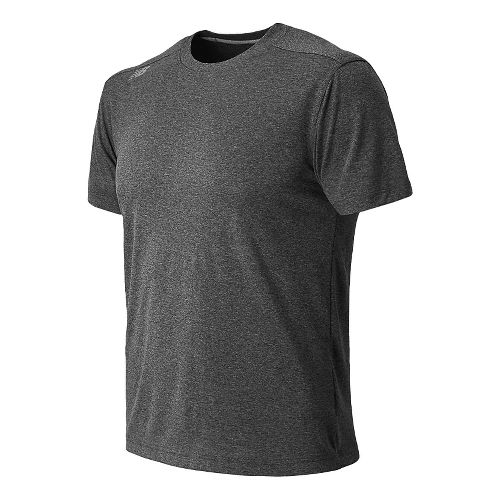 Mens New Balance Heather Tee Short Sleeve Technical Top - Heather Charcoal L