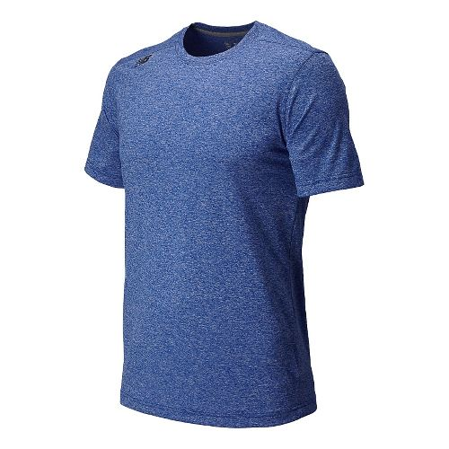 Mens New Balance Heather Tee Short Sleeve Technical Top - Optic Blue Heather XS