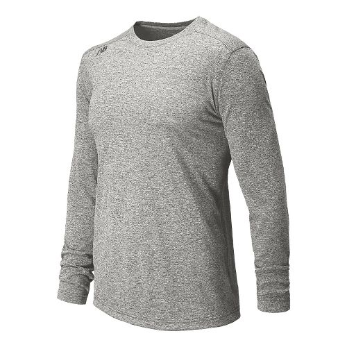 Mens New Balance Heather Tee Long Sleeve No Zip Technical Top - Athletic Grey L ...