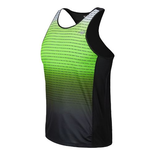 Mens New Balance Accelerate Singlet Graphic Tank Technical Top - Chemical Green L