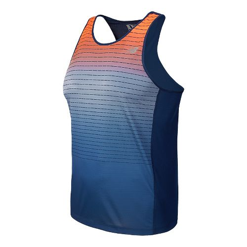 Mens New Balance Accelerate Singlet Graphic Tank Technical Top - Dark Sapphire M