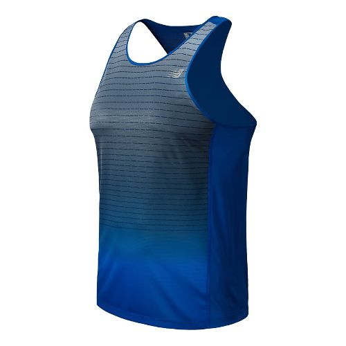 Mens New Balance Accelerate Singlet Graphic Tank Technical Top - Optic Blue XL