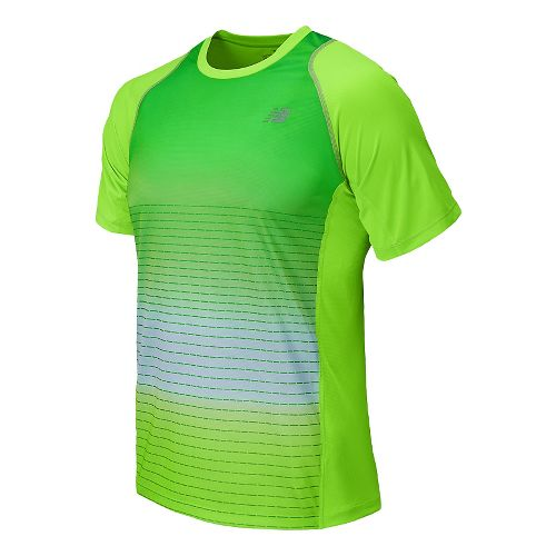 Mens New Balance Accelerate Graphic Short Sleeve Technical Top - Optic Blue XL