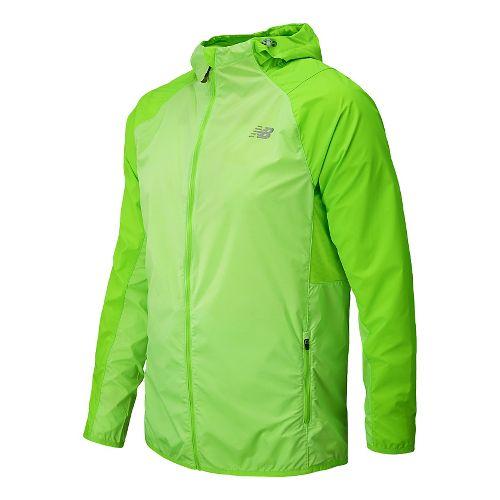 Mens New Balance Surface Run Warm Up Hooded Jackets - Chemical Green M