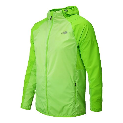 Mens New Balance Surface Run Warm Up Hooded Jackets - Chemical Green XXL