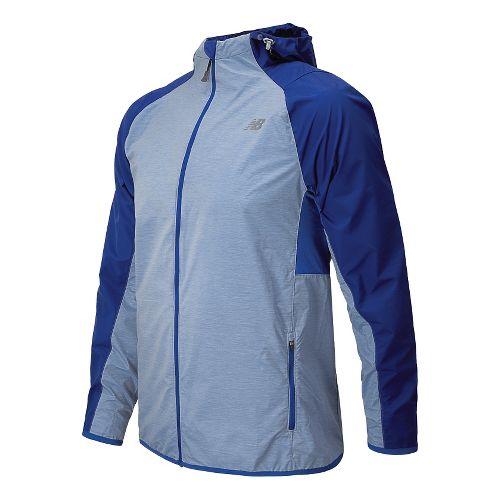 Mens New Balance Surface Run Warm Up Hooded Jackets - Optic Blue L
