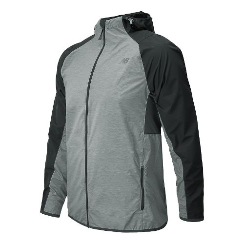 Mens New Balance Surface Run Warm Up Hooded Jackets - Black Grey L