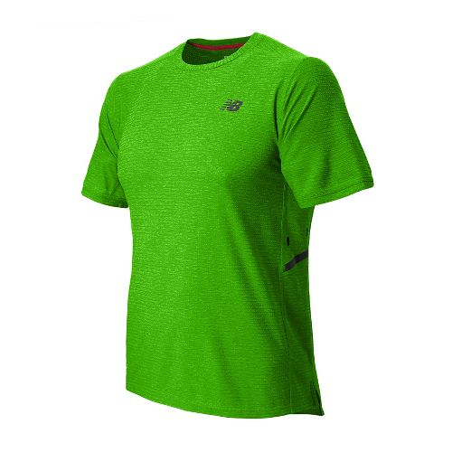 Mens New Balance Shift Short Sleeve Technical Top - Chem Green Heather L