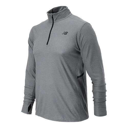 Mens New Balance Shift Long Sleeve 1/4 Zip Technical Top - Athletic Grey XS